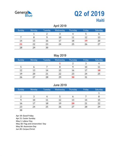 Haiti 2019 Quarterly Calendar
