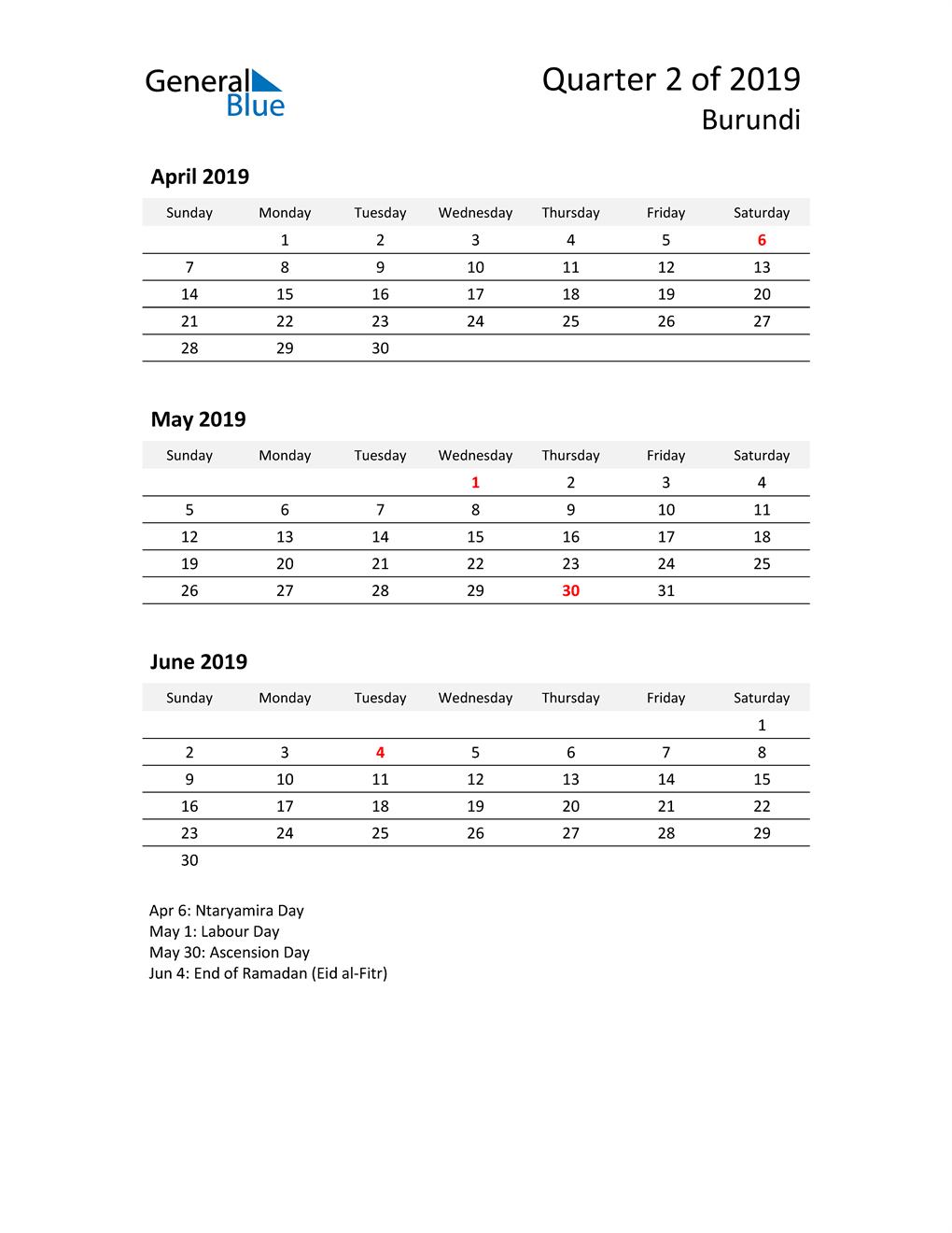 2019 Three-Month Calendar for Burundi