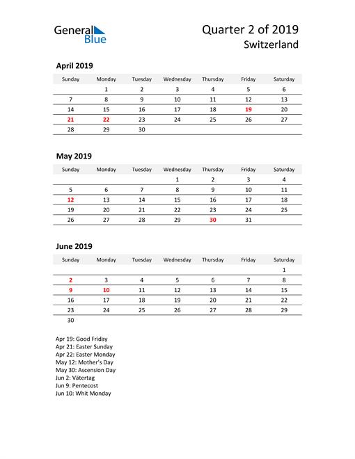 2019 Three-Month Calendar for Switzerland