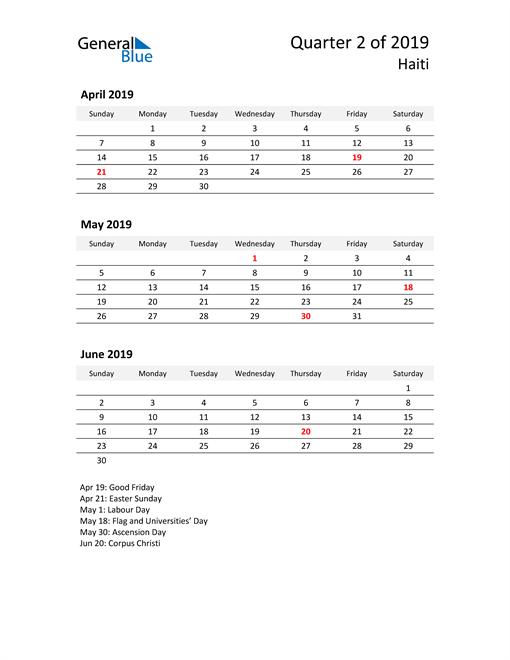 2019 Three-Month Calendar for Haiti