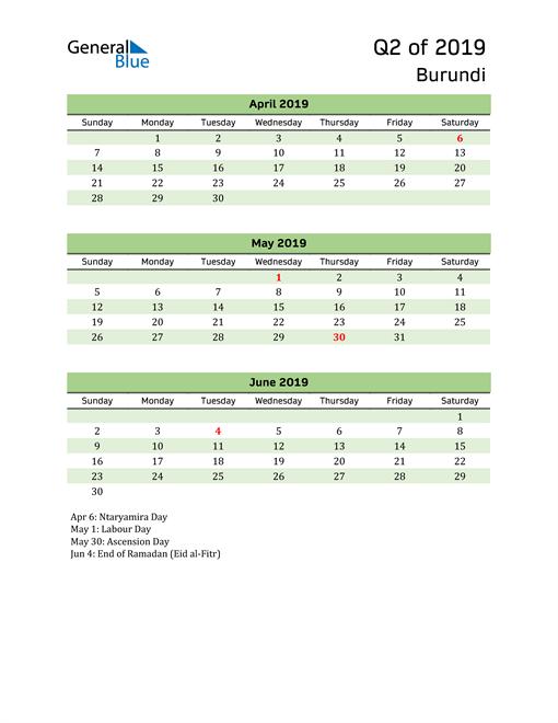 Quarterly Calendar 2019 with Burundi Holidays