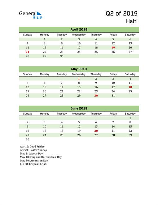 Quarterly Calendar 2019 with Haiti Holidays