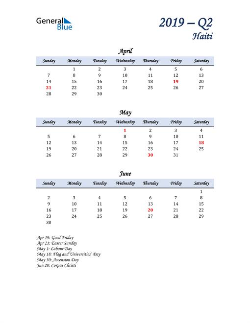 April, May, and June Calendar for Haiti