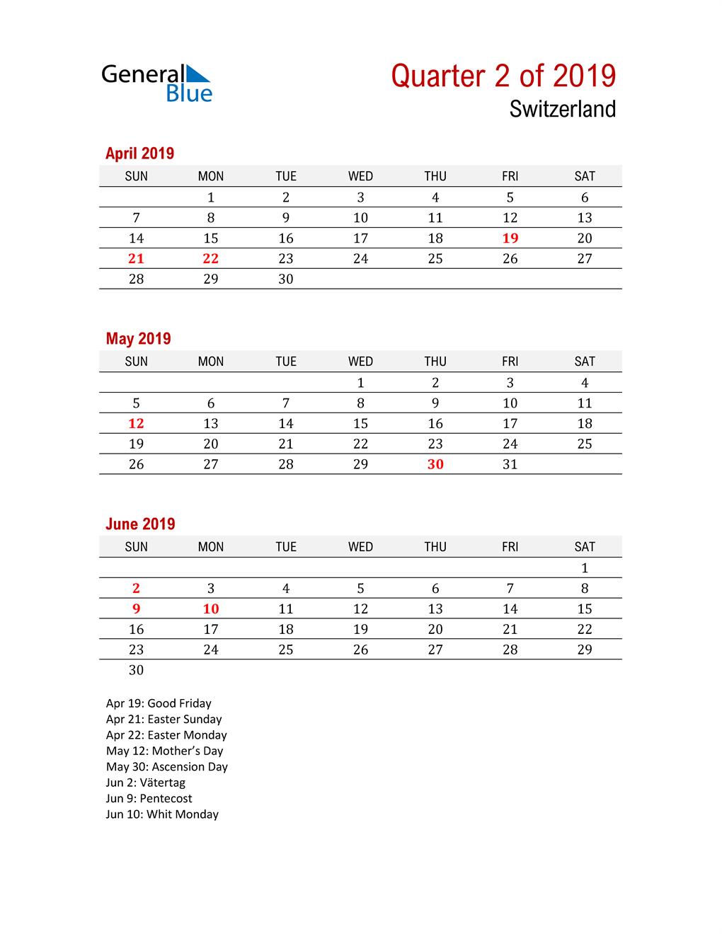 Printable Three Month Calendar for Switzerland