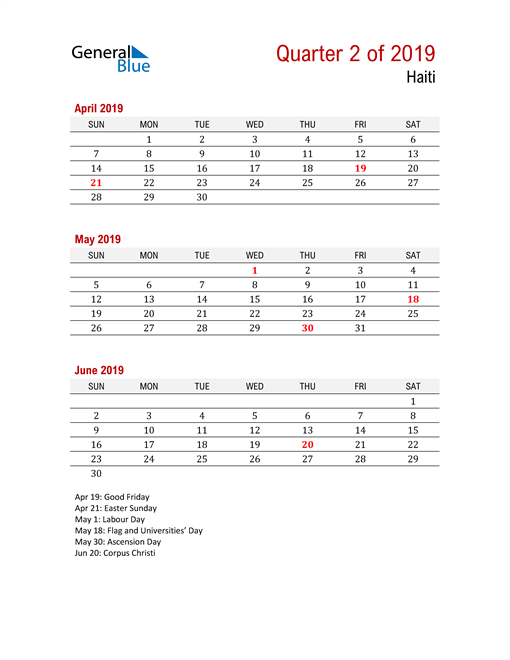 Printable Three Month Calendar for Haiti