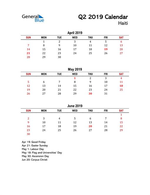 2019 Q2 Calendar with Holidays List