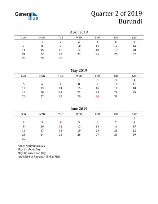 2019 Burundi Quarterly Calendar