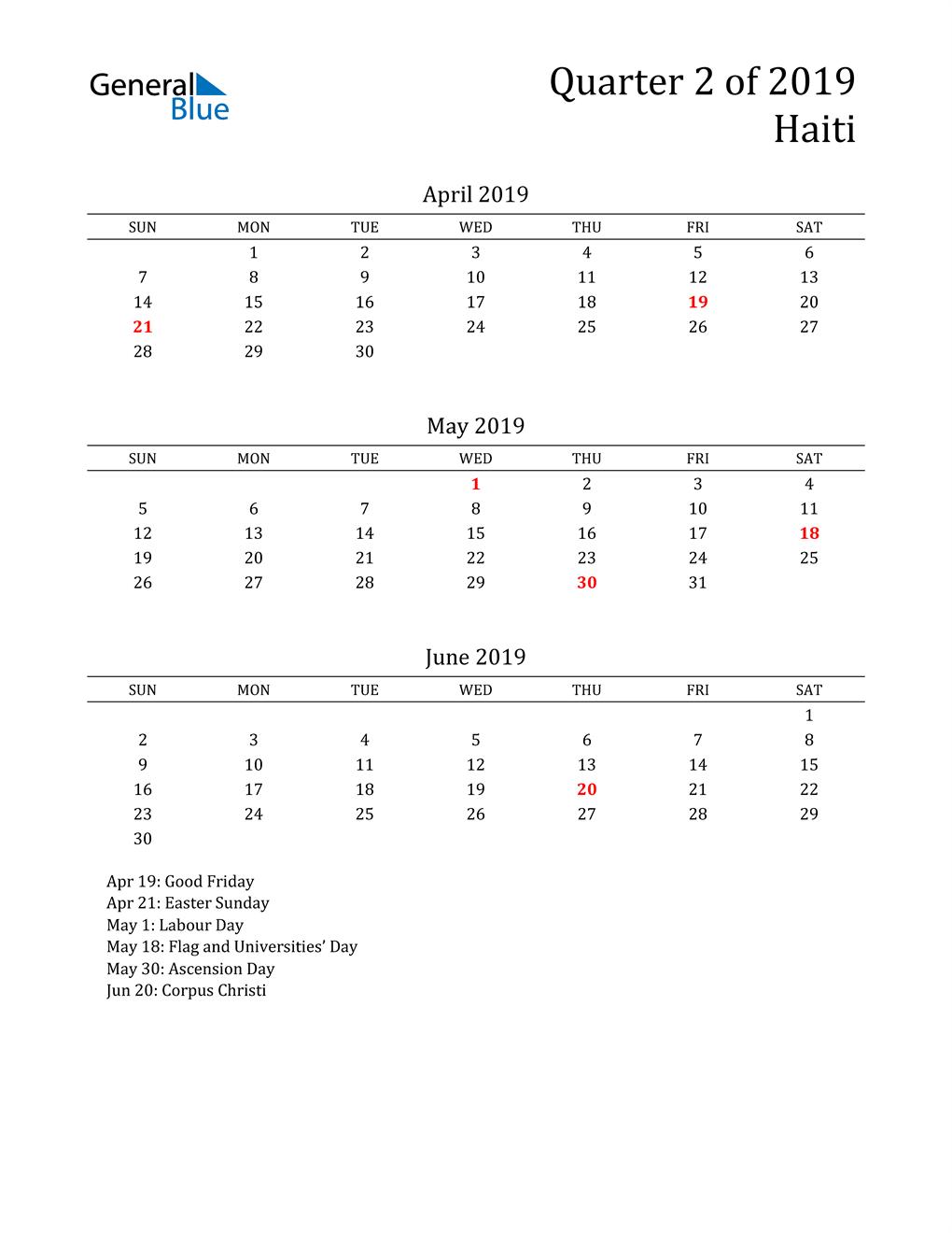 2019 Haiti Quarterly Calendar