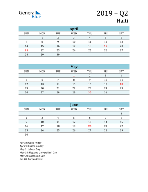 Three-Month Planner for Q2 2019 with Holidays