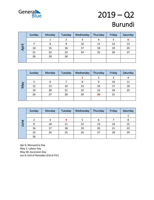 Free Q2 2019 Calendar for Burundi