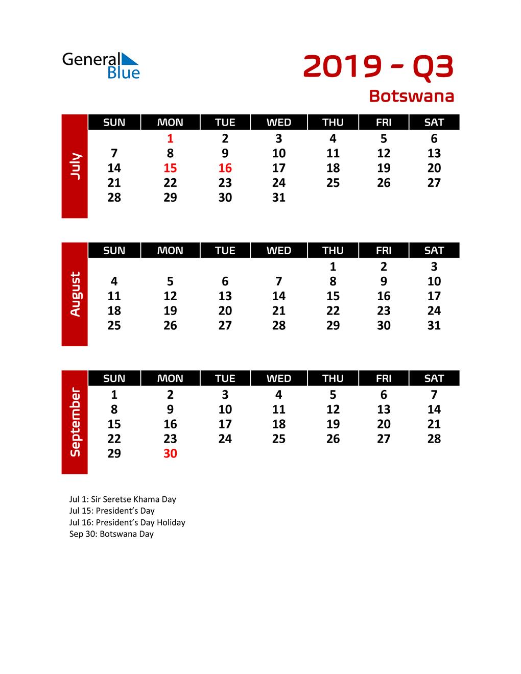 Q3 2019 Calendar with Holidays