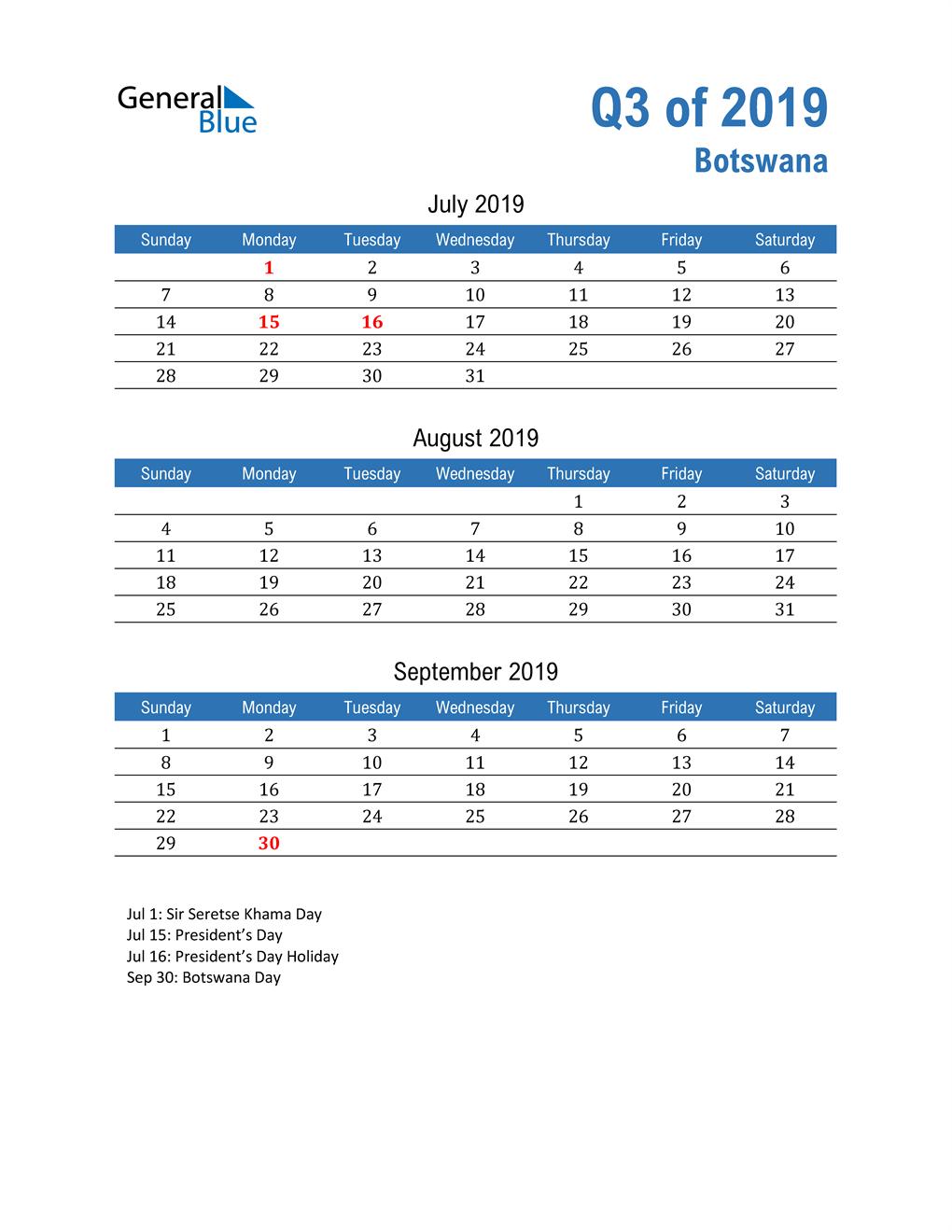 Botswana 2019 Quarterly Calendar