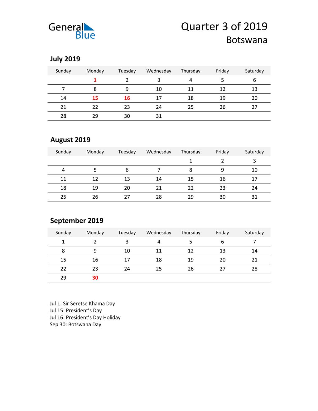 2019 Three-Month Calendar for Botswana