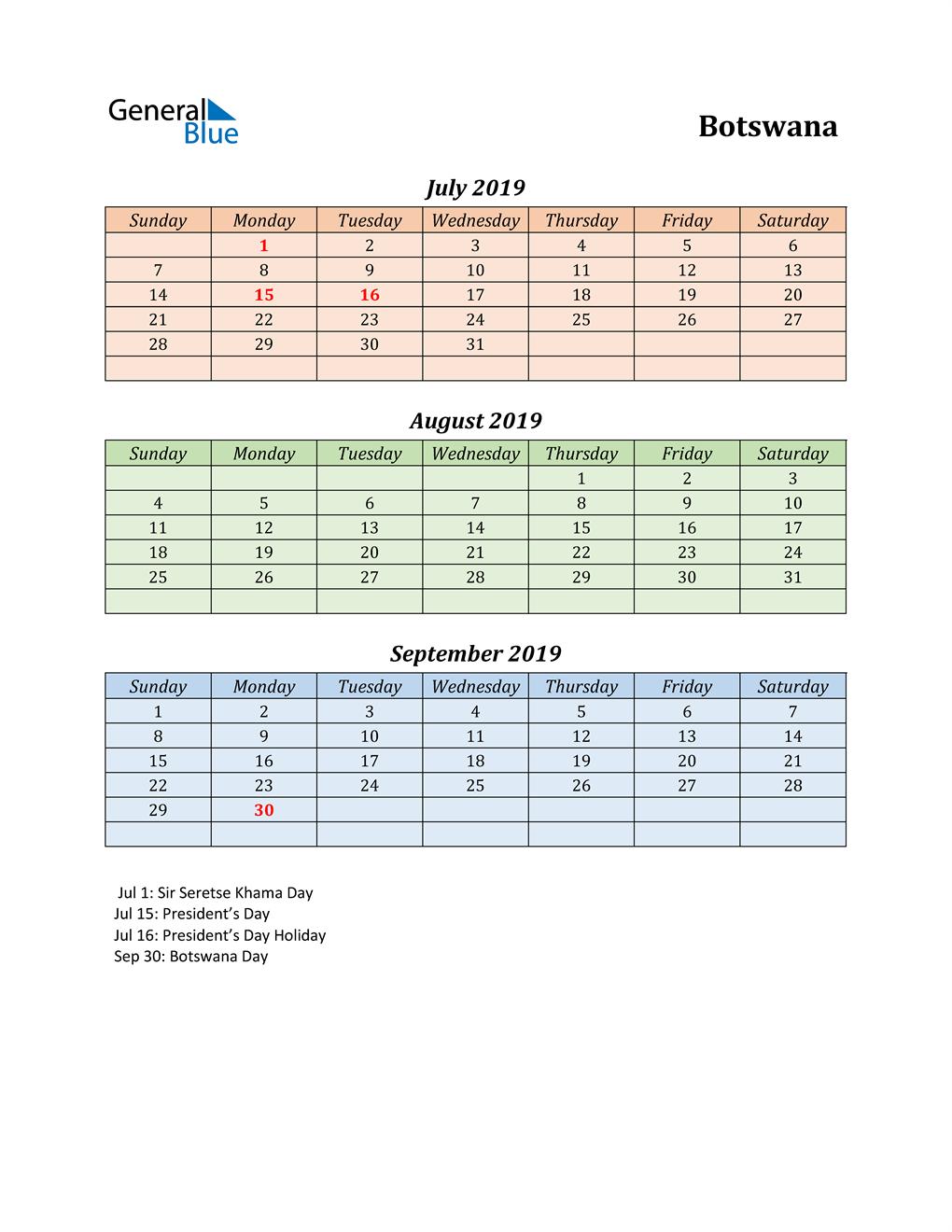 Q3 2019 Holiday Calendar - Botswana