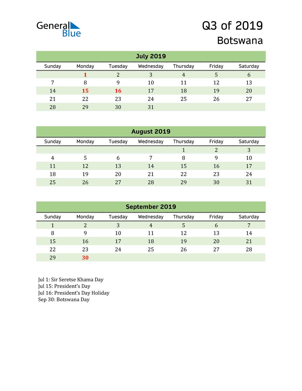 Quarterly Calendar 2019 with Botswana Holidays