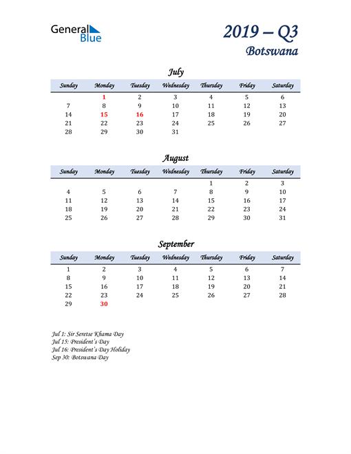 July, August, and September Calendar for Botswana