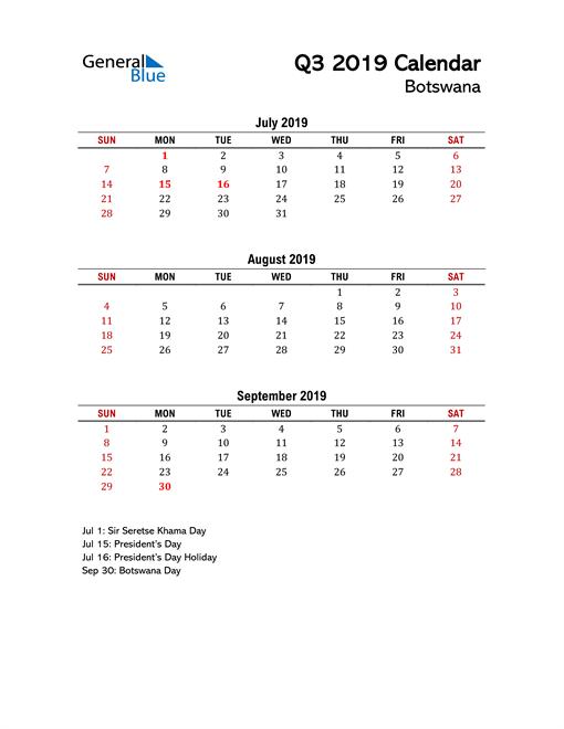 2019 Q3 Calendar with Holidays List