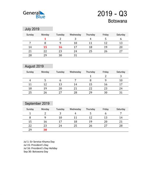 Botswana Quarter 3 2019 Calendar