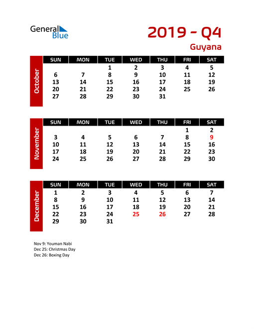 Q4 2019 Calendar with Holidays