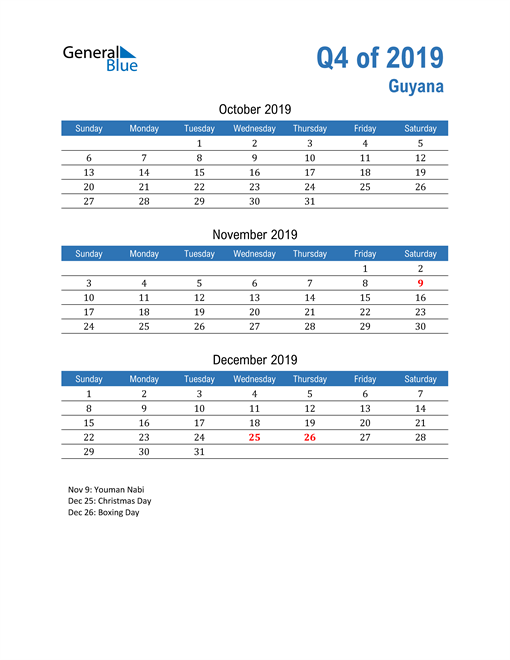 Guyana 2019 Quarterly Calendar
