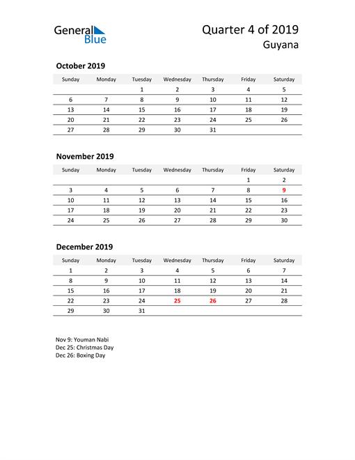 2019 Three-Month Calendar for Guyana
