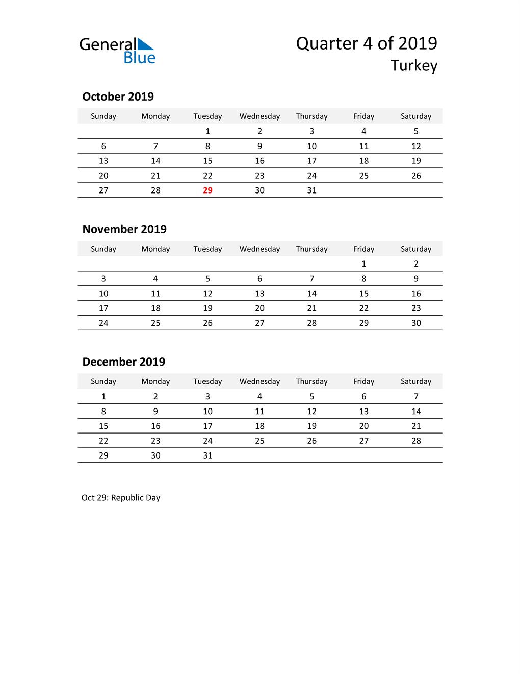 2019 Three-Month Calendar for Turkey