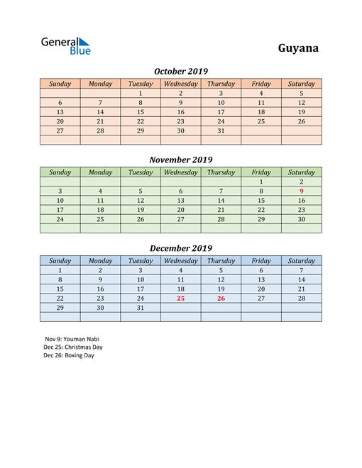 Q4 2019 Holiday Calendar - Guyana