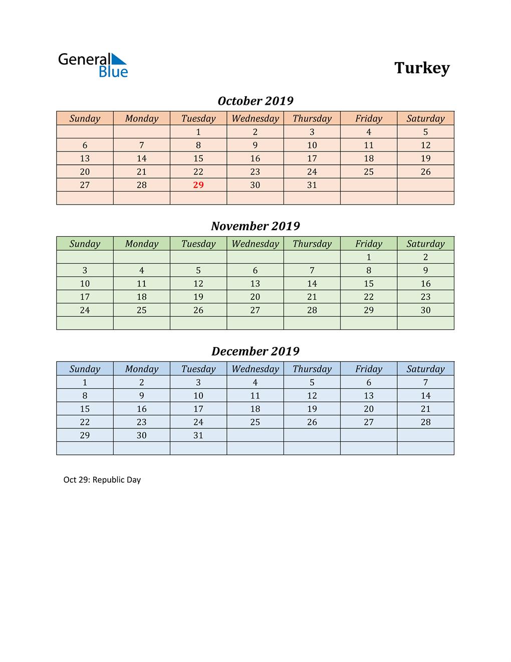 Q4 2019 Holiday Calendar - Turkey