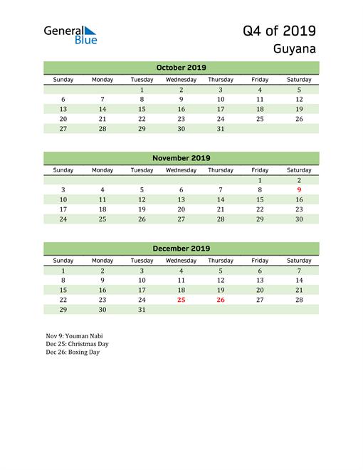 Quarterly Calendar 2019 with Guyana Holidays