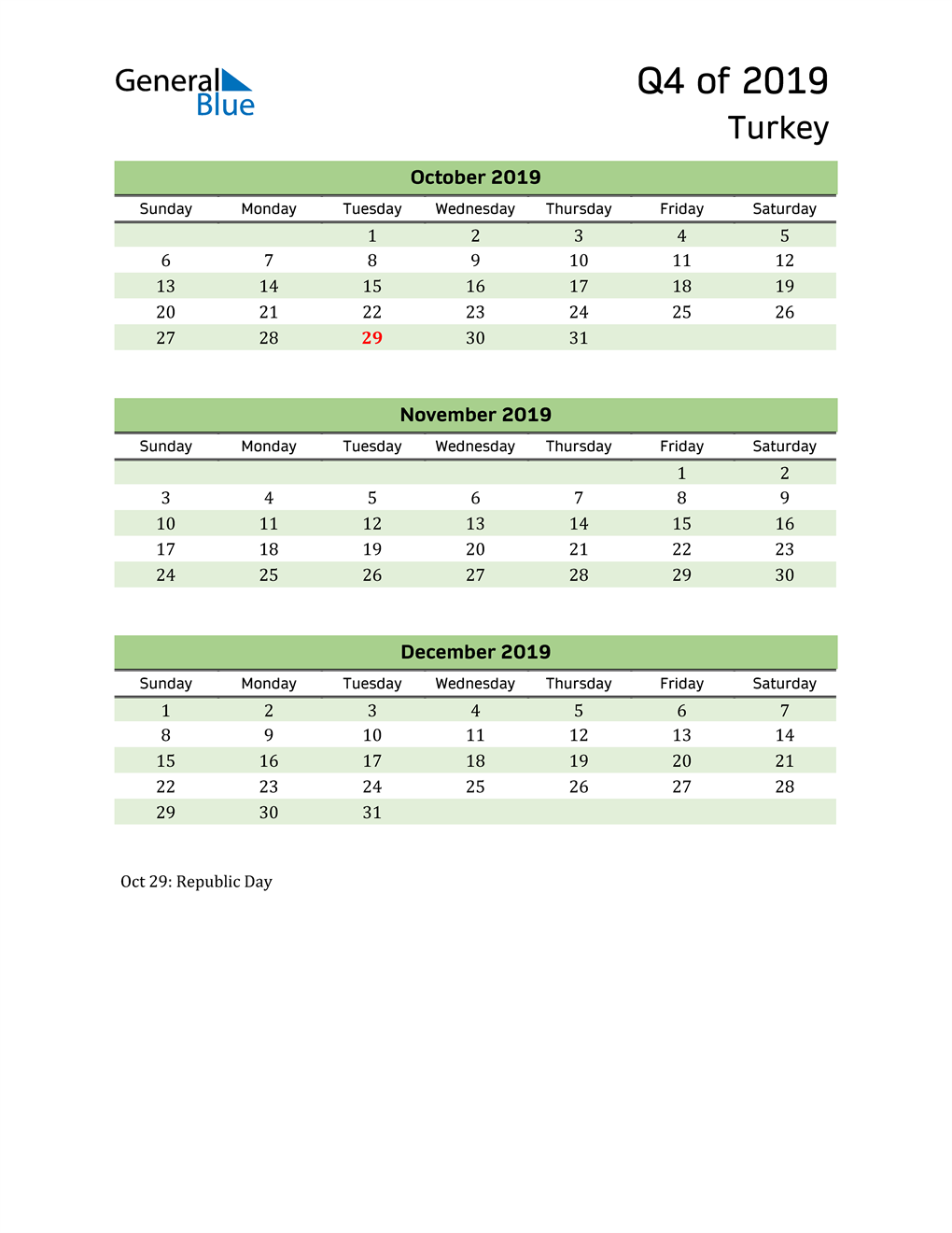 Quarterly Calendar 2019 with Turkey Holidays