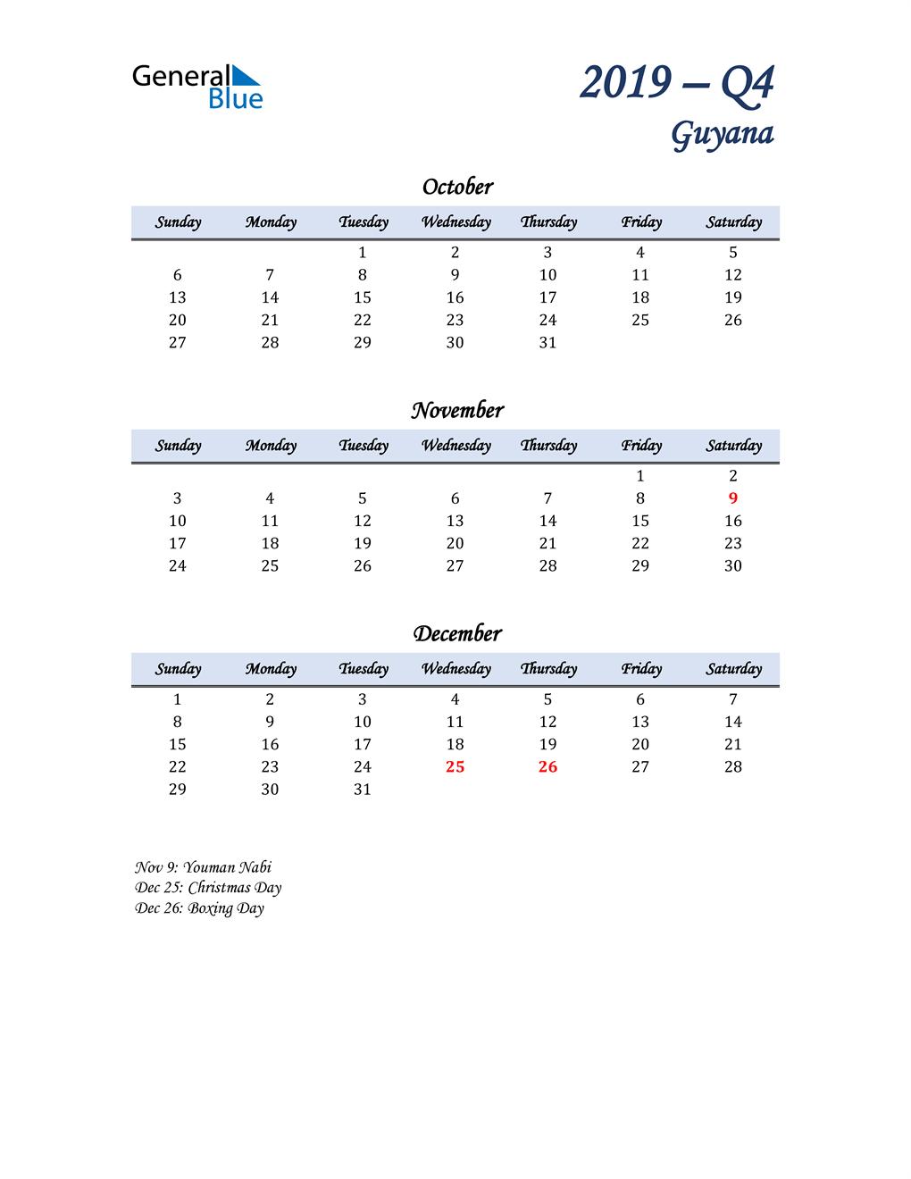 October, November, and December Calendar for Guyana