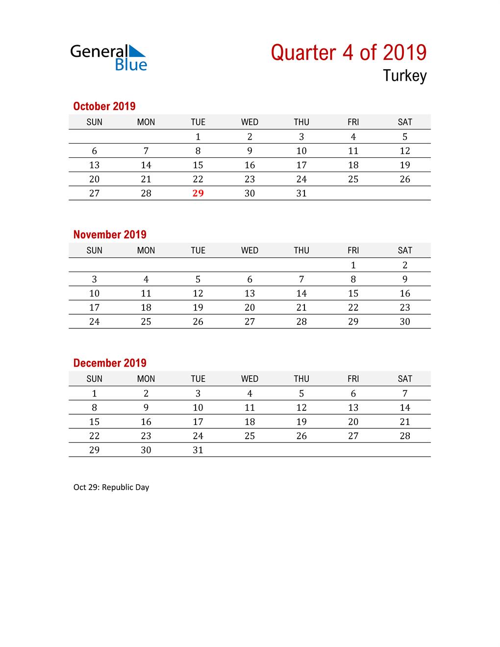 Printable Three Month Calendar for Turkey