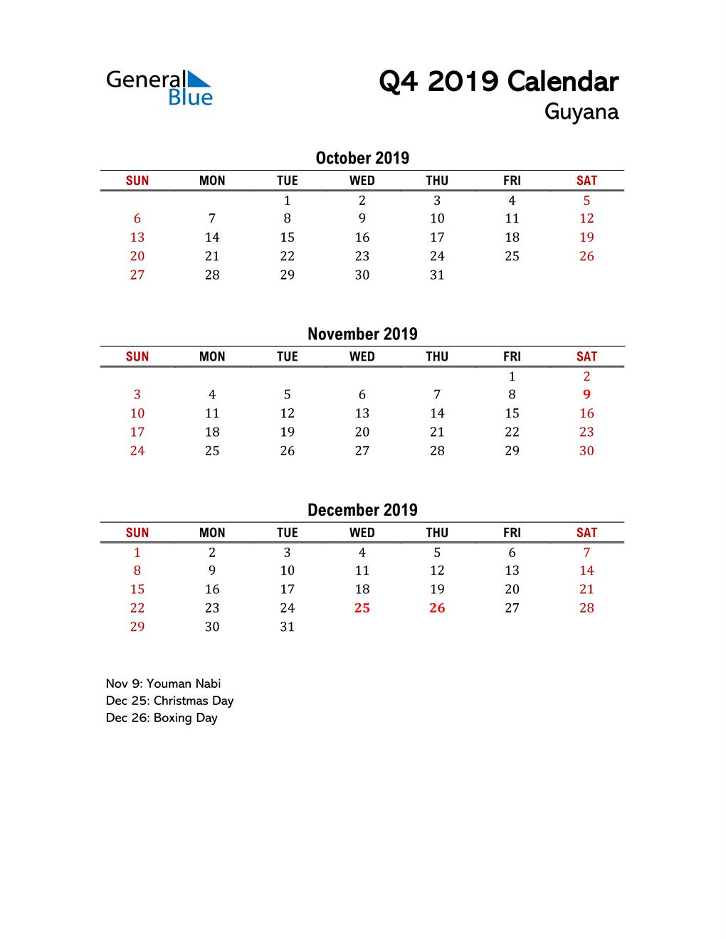 2019 Q4 Calendar with Holidays List