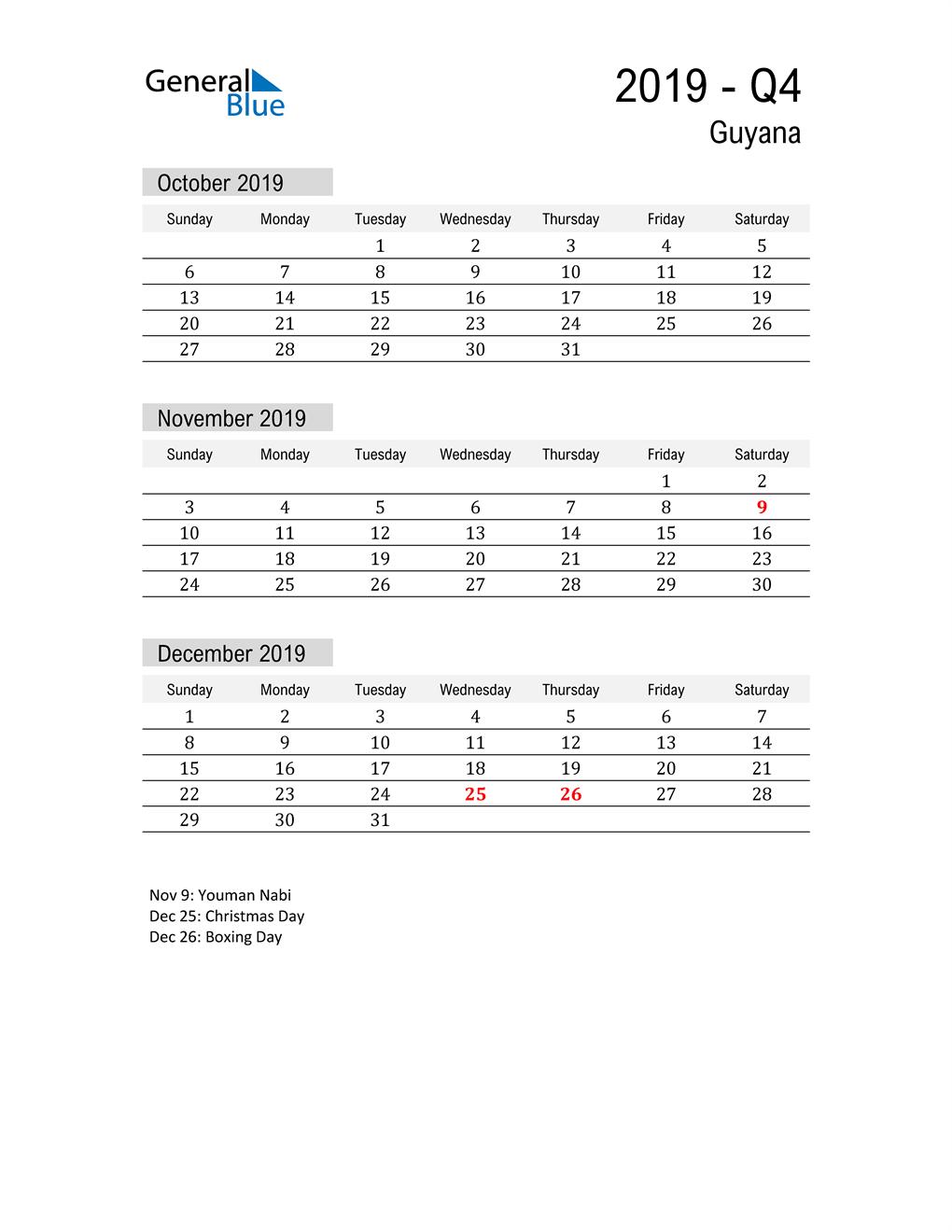 Guyana Quarter 4 2019 Calendar