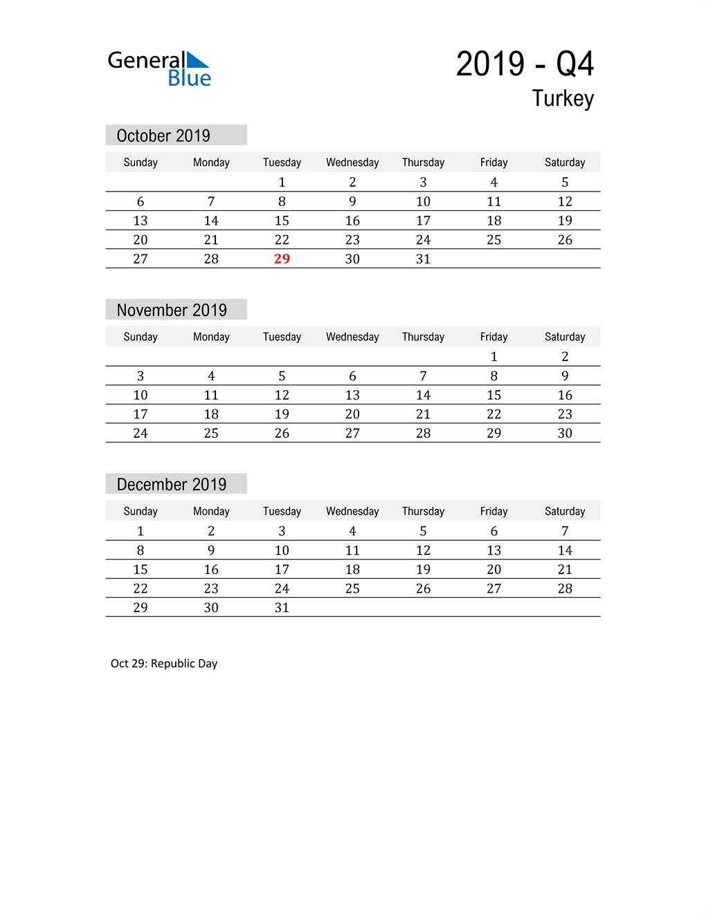 Turkey Quarter 4 2019 Calendar