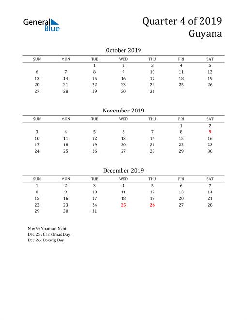 2019 Guyana Quarterly Calendar