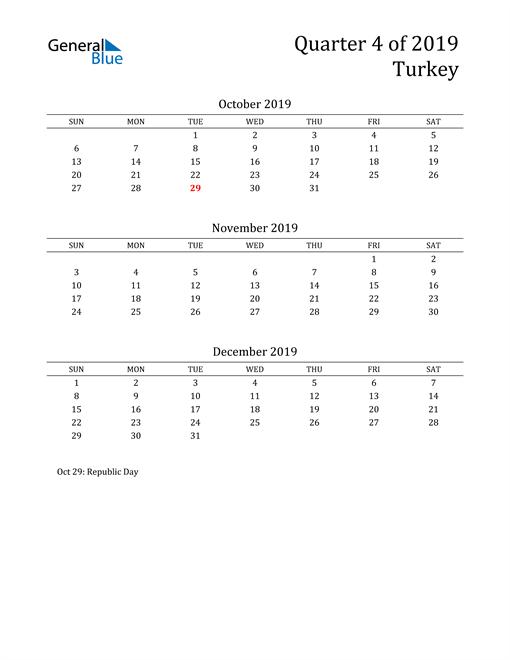 2019 Turkey Quarterly Calendar