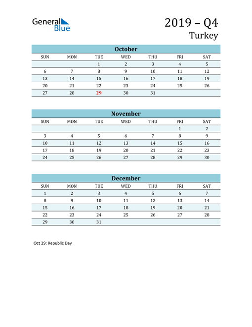 Three-Month Planner for Q4 2019 with Holidays