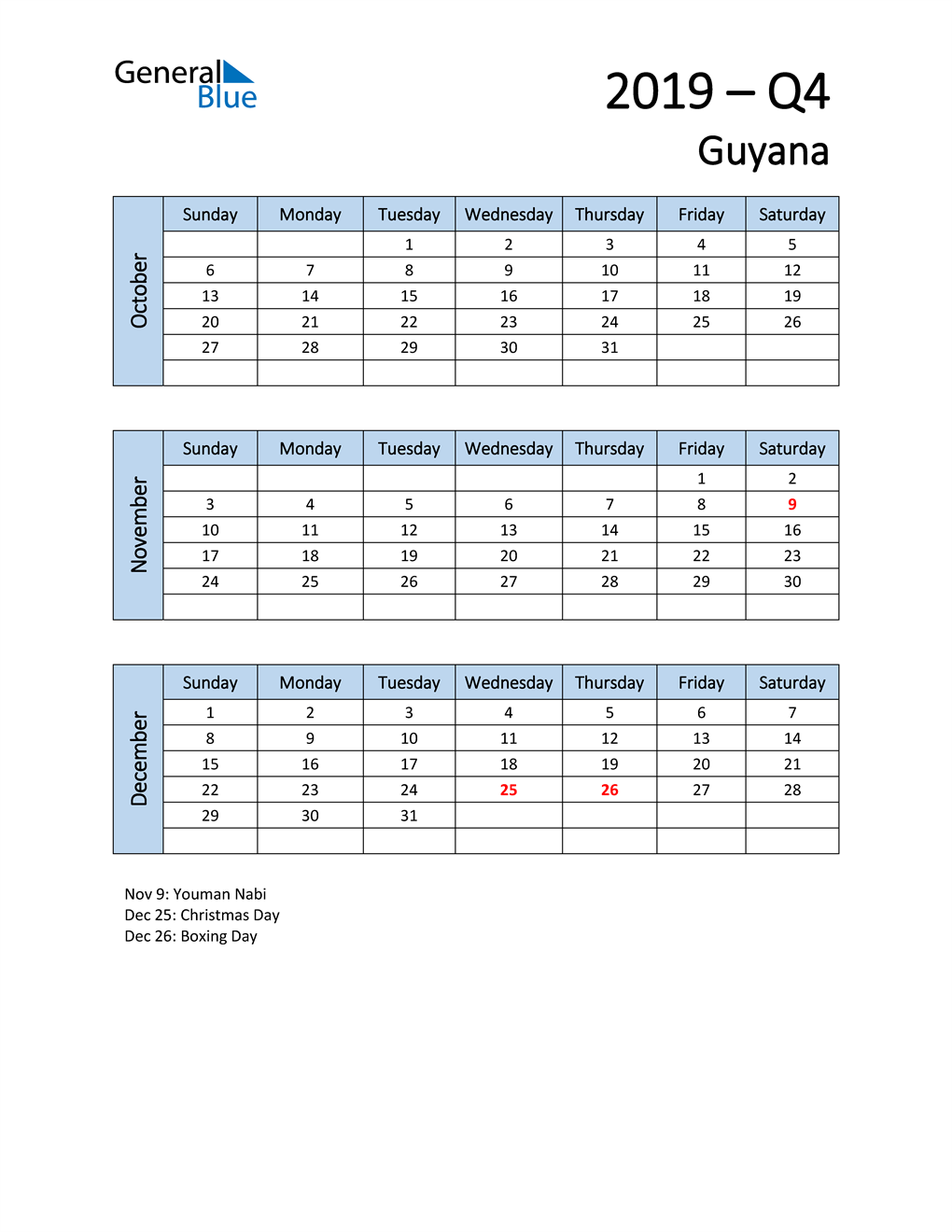 Free Q4 2019 Calendar for Guyana
