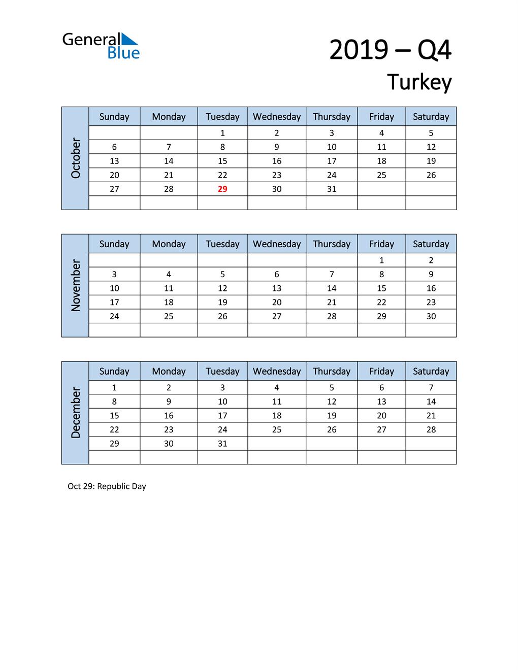 Free Q4 2019 Calendar for Turkey