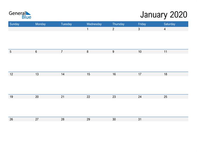 Fillable Calendar for January 2020