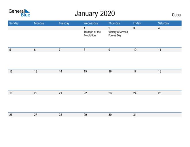 Fillable January 2020 Calendar