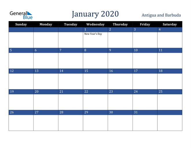 January 2020 Antigua and Barbuda Calendar