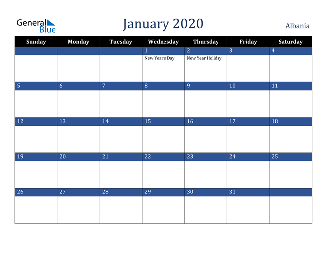 January 2020 Albania Calendar