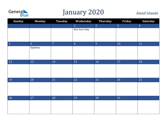 January 2020 Aland Islands Calendar
