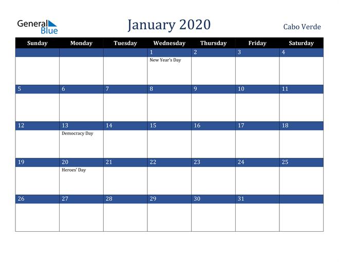 January 2020 Cabo Verde Calendar