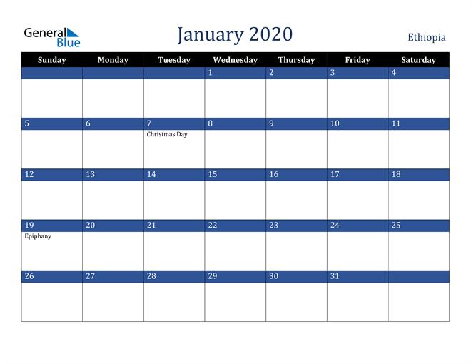 January 2020 Stylish Dark Blue Calendar in PDF, Word and Excel Calendar