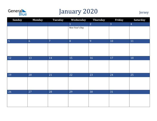 January 2020 Jersey Calendar