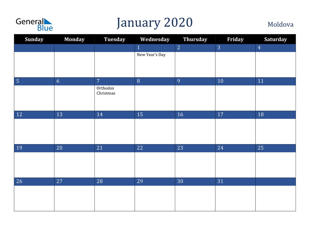 Image of January 2020 Stylish Dark Blue Calendar in PDF, Word and Excel Calendar