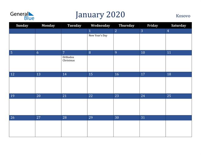 January 2020 Kosovo Calendar
